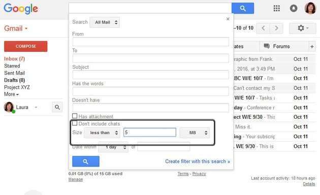 Search for messages with a size of less than 5 MB