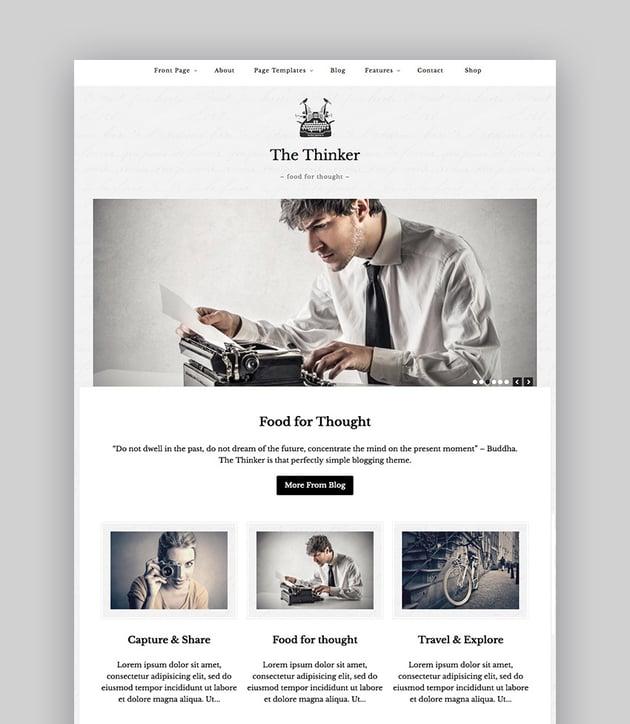 The Thinker Simple Blog Writer WordPress Theme