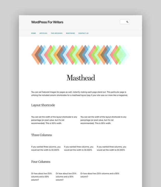 WordPress for Writers Text Based Minimal Author Theme