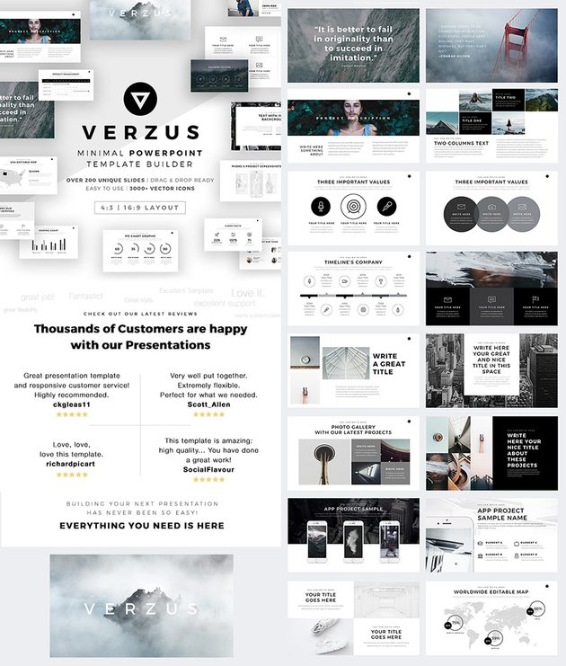 Verzus Awesome PowerPoint Template With Minimal Style