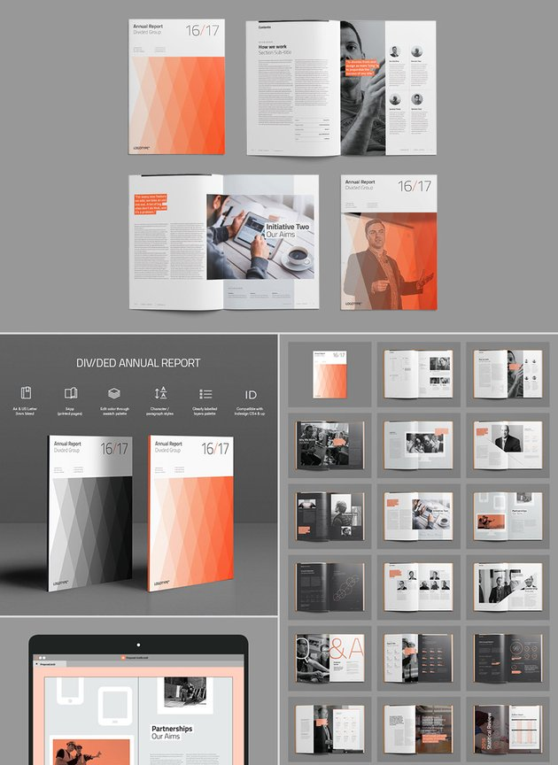 Divided Annual Report Template InDesign With Awesome Layouts