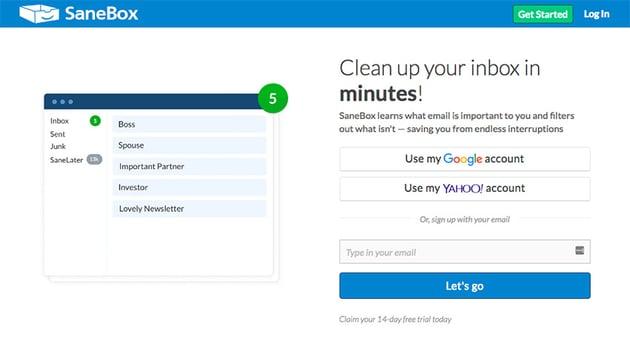 Sanebox Gmail plugin for prioritizing emails