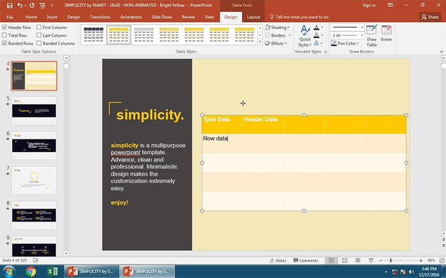 Add table cell data to PowerPoint