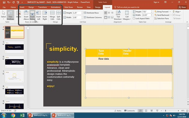Insert Rows in PowerPoint Table