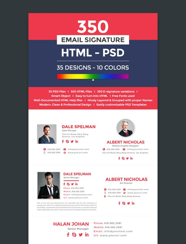 Professional Email Signature Templates PSD HTML Formats