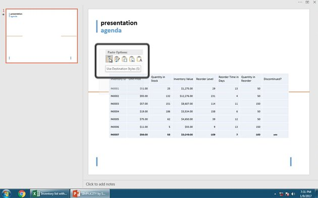 Insert Excel data file with PowerPoint Destination Styles