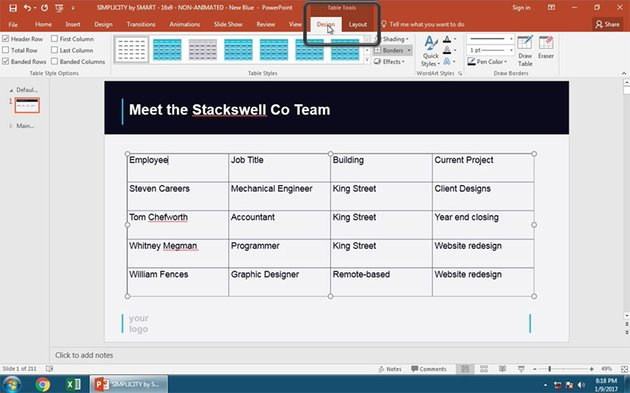 Style with the PowerPoint Table Tools Design Menu