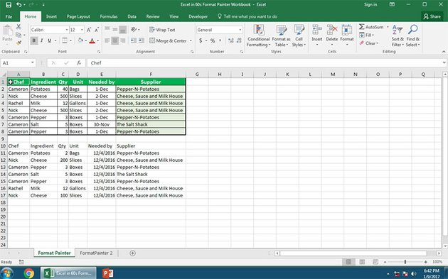 Excel Spreadsheet with styled and unstyled formats