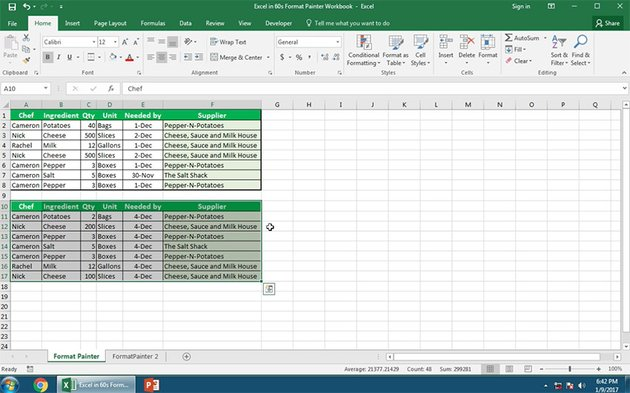 How to Apply Format Painter to a table in Excel