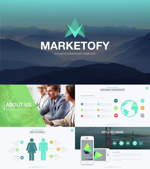Marketofy PowerPoint template design with helpful infographic slides