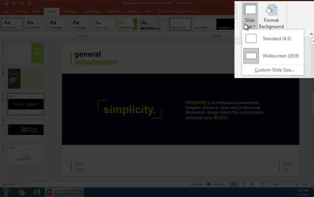Open the PowerPoint Slide Size options