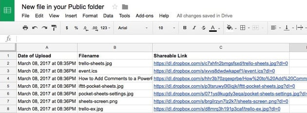 From Dropbox to Google Sheets