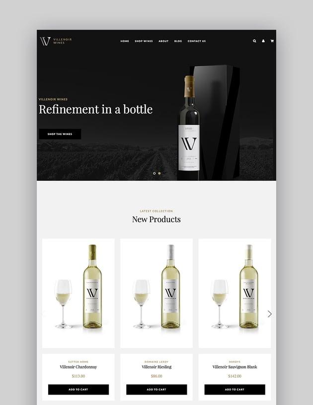 Villenoir BigCommerce Elegant Wine Site 2017 Theme