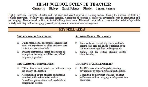 Resume skills organized by type