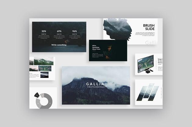 Cool Google Slides theme Gallia with fresh 2017 presentation design