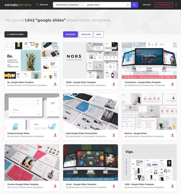 Coole neue Google Slides Templates auf Envato Elements