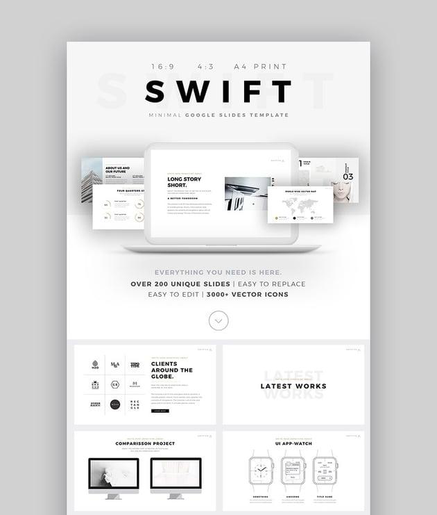 Swift Minimal Cool Google Präsentations Template für 2017