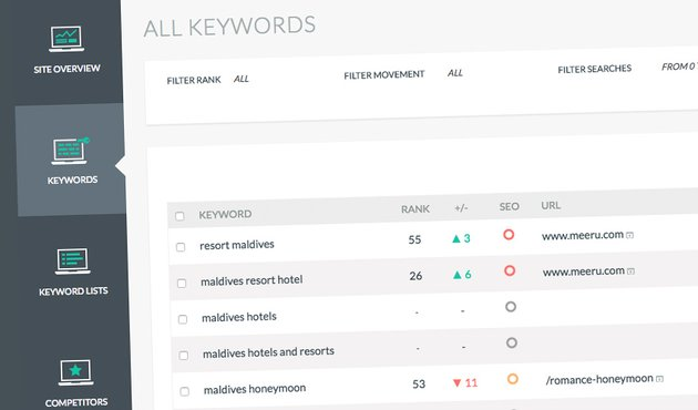 Tiny Ranker keyword tracking