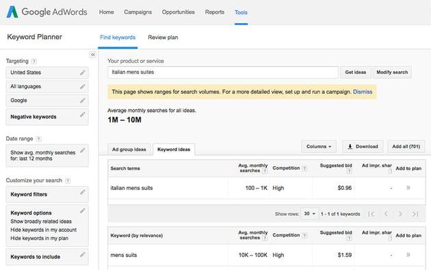 Google Keyword Planner - Basic SEO keyword research tool