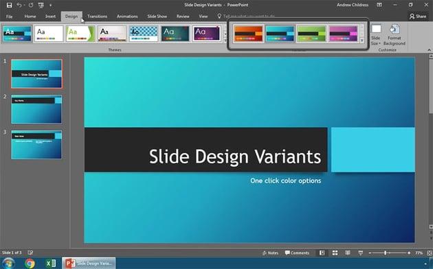 Find Slide Design Variants in PowerPoint