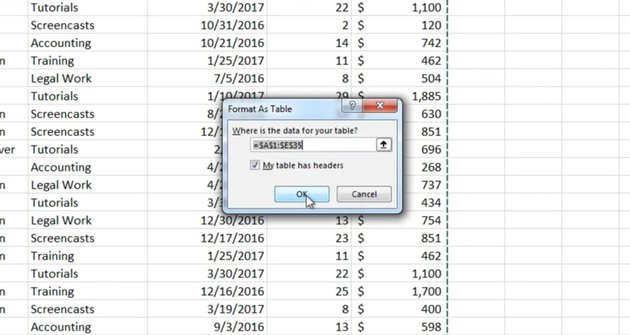 Press OK to make the Excel Data table