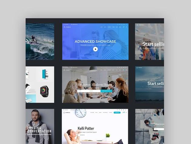 Modern homepage designs in Clean WordPress theme
