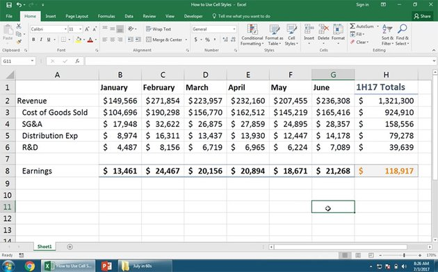 Excel Calculation Styles
