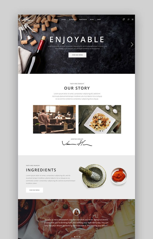 Savory restaurant website WordPress theme