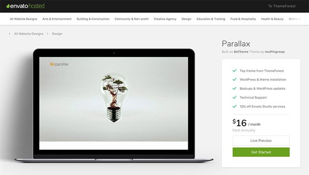 Envato Hosted supported Be theme WordPress website