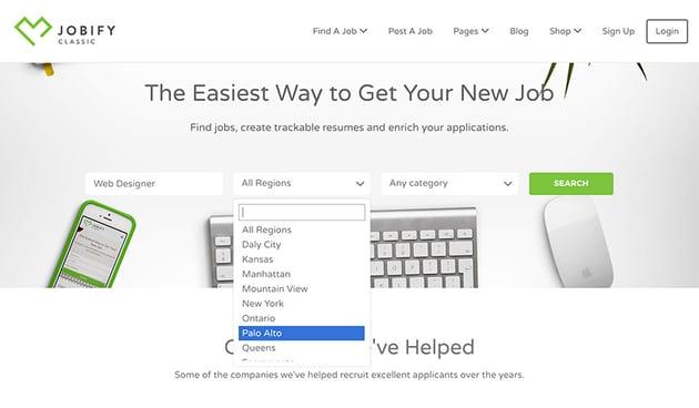 Jobify WordPress theme job search fields