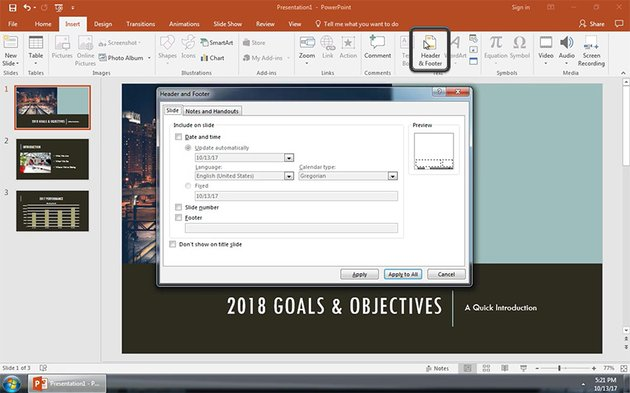Header and Footer PowerPoint Window