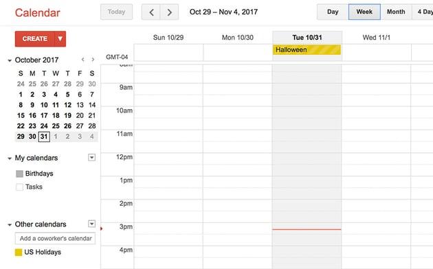 Google Calendar online app