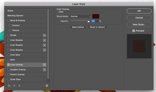 Blending options color overlay in Photoshop