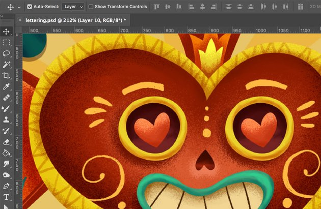 Move Tool in Photoshop painting the details
