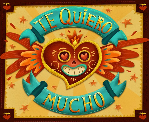 The Mexican hand lettering Valentine card design