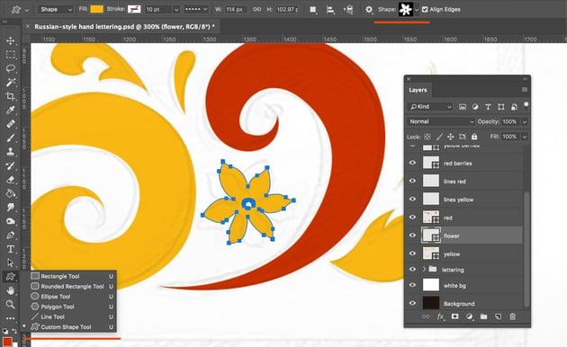 Adding flower with custom shape tool