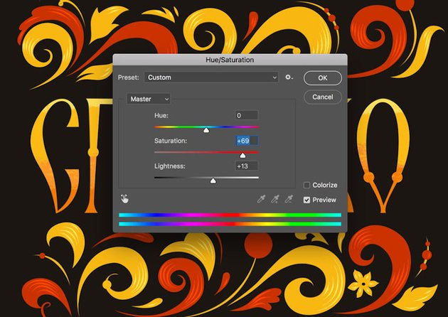Hue Saturation Panel in Adobe Photoshop