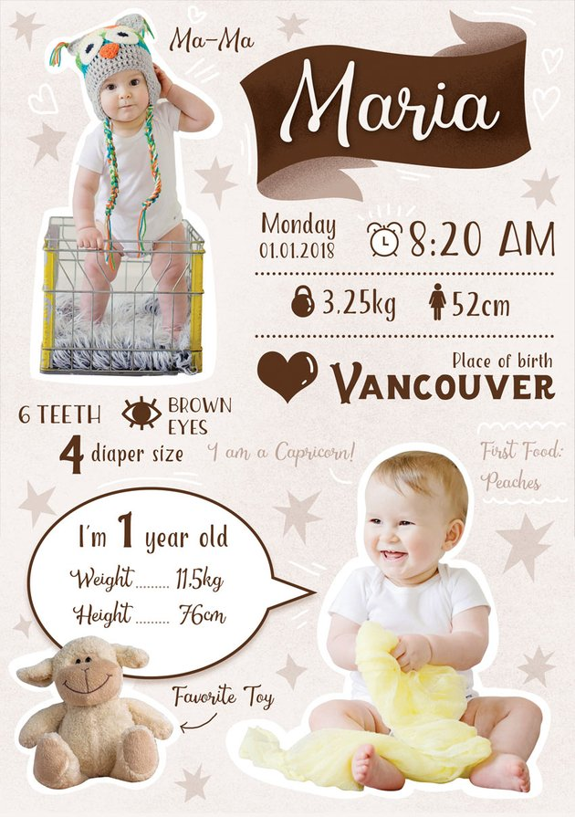 Baby first year infographic template