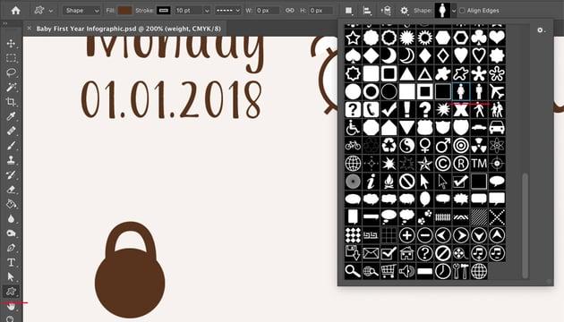 Custom Shape Tool icons menu