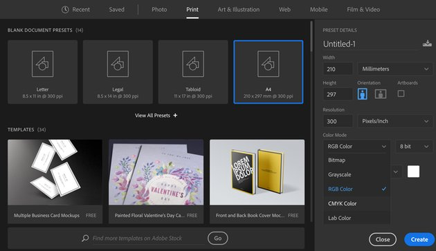 Create a new document in Adobe Photoshop