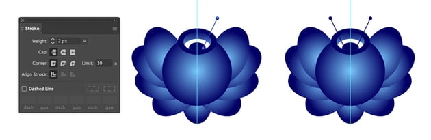 Drawing decoration for Gzhel flower