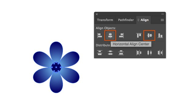 Align objects in Adobe Illustration