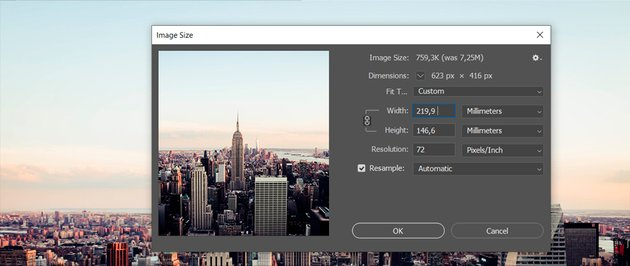 Change picture size in Adobe Photoshop