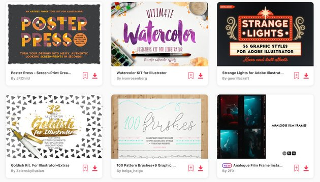 Layer styles compatible with Adobe Illustrator on Envato Elements