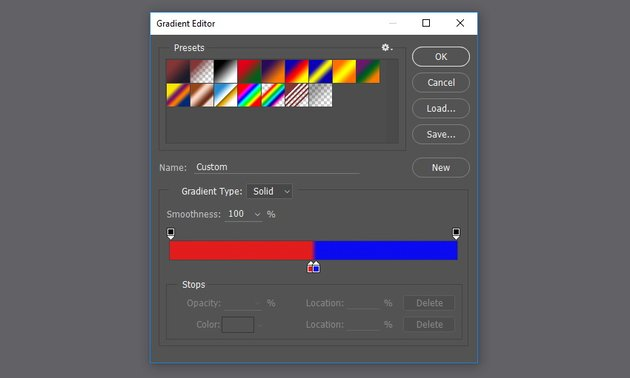 Use gradient from red to blue