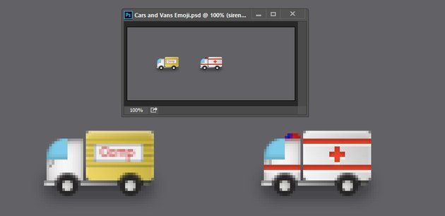 We have finished drawing the ambulance
