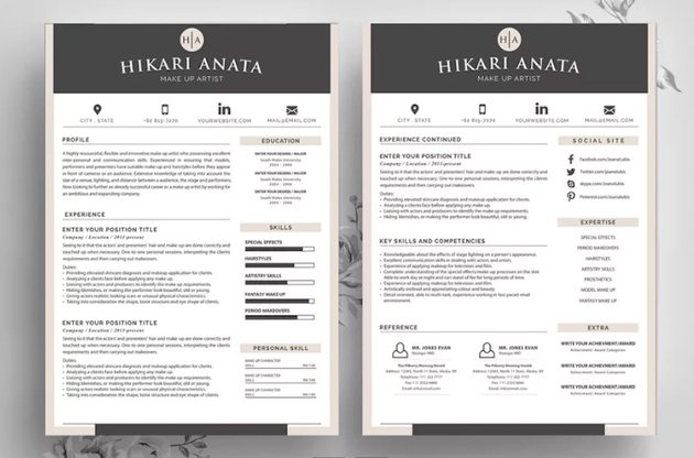 Simple Resume Template Anata without Headshot
