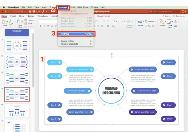 Ungroup objects on PowerPoint