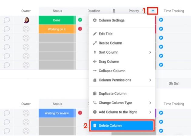 Delete column to remove unwanted columns