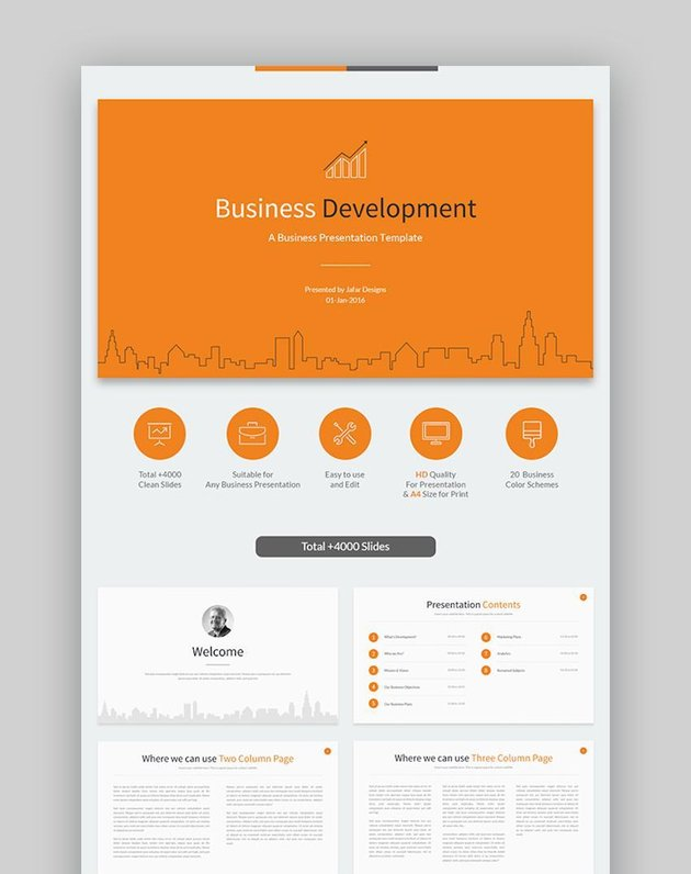 Business Development Google Slides Template with icons